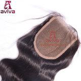"""Fechamento 100% médio natural do cabelo da cor 4X4 Brown Remy do fechamento livre brasileiro do laço da peça da onda do corpo 10 """" - 22 """""""