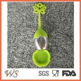 Ручка силикона шарика нержавеющей стали инструмента чая свободных листьев Infuser чая Ws-If042 (зеленый цвет)
