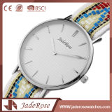 女性大きいダイヤルのステンレス鋼の水晶方法腕時計