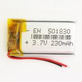 batería recargable del ion de Lipo Li del polímero del litio de 3.7V 230mAh 501830 para los juguetes del receptor de cabeza del auricular de DIY MP3 MP4 MP5 GPS PSP Bluetooth