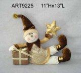 Regalo del pupazzo di neve di festa di natale felice con il regalo e la stella