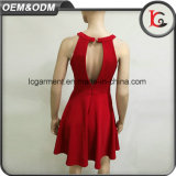 중국 공급자 2017 도매 가장 새로운 형식 섹시한 빨간 맥시 복장 소매 없는 감미로운 셔츠