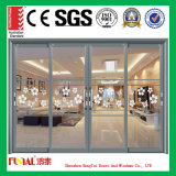 double porte en verre de glissement en aluminium en verre de 6mm