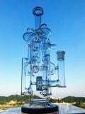 Tubulação de fumo de vidro comum roxa de Perc Downstem da esfera do reciclador 14mm
