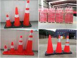 "90cmオレンジ36 ""および白く適用範囲が広いPVC道路工事の安全円錐形"