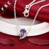 Silber überzogene purpurrotes Inneres KubikZirconial Element-Absinken-Halskette