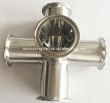 Diversa abrazadera de tubo de acero inoxidable de la categoría alimenticia del diámetro que ajusta la cruz cinco