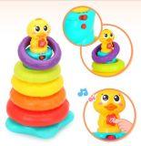 Brinquedo de empilhamento educacional plástico do bebê do pato do arco-íris dos miúdos