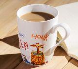 Taza de café cuadrada de cerámica multicolora al por mayor de la dimensión de una variable 12oz con la cuchara