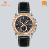 Reloj colorido del cuarzo del cuero del acero inoxidable del nuevo estilo para Mens72227