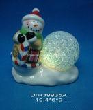 Pupazzo di neve di ceramica illuminato LED Colore-Cambiante con il bollo