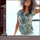 De Kleren van de fabriek vormen de Korte Bovenkanten van het Gewas van de Vrouwen van de T-shirt van de Koker