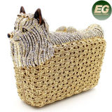 Handmade Women Handbag Dog Crystal Stone Clutches Evening Bags Leb724