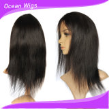 Peruca brasileira reta natural da parte dianteira do laço do cabelo humano do Virgin