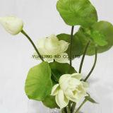 Regalo artificial del loto blanco con el crisol del vidrio de agua del Faux