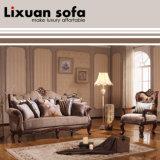 Lo strato classico dell'oggetto d'antiquariato del sofà del tessuto con il tavolino da salotto di legno ha impostato per il salone