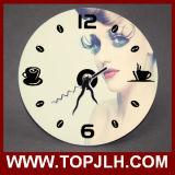 Relógio de Sublimação de Fibra Dúplex de luz branca em branco e branco