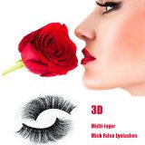 Ресницы сексуальных разнослоистых волос норки 3D ложные