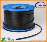 Cable al aire libre doble del ftp UTP SFTP de la envoltura Cat5e CAT6 con el mensajero de acero