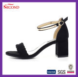 Sandalias de cuero exquisitas de las mujeres del color negro
