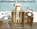 Decoração equipada com pernas longa do gato do Natal para a HOME, 3asst