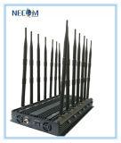 De krachtige GPS WiFi/4G Blocker van de Stoorzender van het Signaal Stoorzender van Cellphone, de Stoorzender van de Band van 14 Antennes, de VideoStoorzender van het Signaal, de Stoorzender van het Signaal van de Telefoon voor wi-Fi+GPS+Lojack+VHF+UHF