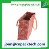 クラフトの小切手パターン衣服のリボンの紙袋