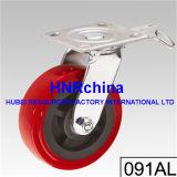 Roter PU-Rad-Schwenker mit doppelter Verschluss-Fußrolle