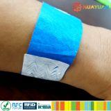 Bracelets de tyvek de l'IDENTIFICATION RF NFC de l'impression Ntag213 de logo pour l'hôpital