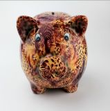 A coruja do vintage projetou o banco Piggy personalizado decalque do leopardo