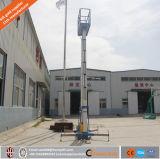 Elevador vertical de alumínio hidráulico do homem do mastro dobro elétrico móvel, elevador telescópico do homem