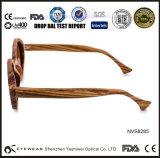 Óculos de sol quadro da madeira redonda da dobradiça da zebra