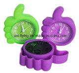 Apple forma promocional Mini Reloj despertador Mini silicona relojes de mesa de alarma para regalo de los niños