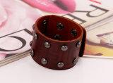 De echte Zwarte Armband van het Leer van de Greep van het Roestvrij staal van de Manchet van het Leer MIFARE (HJ6105)