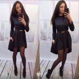 2016人の長い袖純粋なカラー継ぎ目の細部最新のデザイン女性の方法チュニックの服