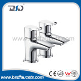 Pair de cobre amarillo Pillar Basin Taps en Chrome Reino Unido Taps