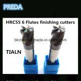 6 flautas que terminam os moinhos de extremidade HRC55 sem revestimento