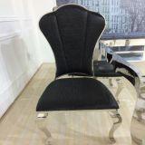 고전적인 까만 가죽 호화스러운 식사 금속 의자