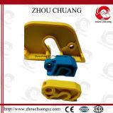 Fechamento do disjuntor do produto quente e novo usado com cadeado da segurança