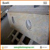 Partes superiores naturais da vaidade do banheiro do granito do ouro de Kashmir