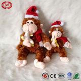 Giocattolo molle bello di seduta della peluche della scimmia del regalo marrone chiaro di natale