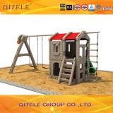 Teatro interno plástico do campo de jogos das crianças novas com balanço (PA-001)