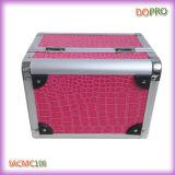 Glattes Pink Crocodile Aluminum Makeup Vanity Box mit Lock (SACMC106)