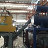 Pó industrial da farinha de peixes que faz a máquina
