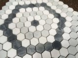 Esagono mattonelle di marmo bianche e grige di Carrara di mosaici