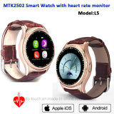 Het Slimme Horloge van Bluetooth van de Band van het leer met de Monitor van het Tarief van het Hart (L5)