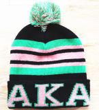 カスタム印刷は帽子によって刺繍された帽子を冬の暖かい帽子編んだ