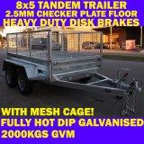 8X5 Galvanised Tandem Trailer met Cage Brandnew 2000kg 2.5mm Checker Plate