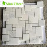 Mini mattonelle di mosaico di marmo bianche del reticolo di Versailles