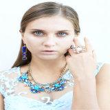 Colar azul do bracelete do brinco da jóia da forma da resina do tom do projeto novo